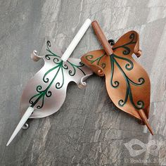 Elven Leaf Leather Hair Slide Or Shawl Pin Bronze by beadmask
