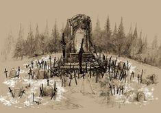 Escenario de la batalla de uno de mis jefes favoritos de Dark Souls, The Great Grey Wolf Sif.