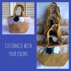 Jute tote bags Flower Girl Mini totes Mini burlap by QueensBanners