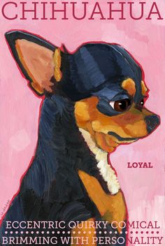 "Chihuahua No. 2 - Black and tan art poster 13x19"" from original oil painting. $42.00, via Etsy."