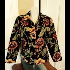"""LN TAPESTRY JACKET. HAND BEADED W/SEQUINS STUNNING STUNNING JACKET. PERFECT CONDITION. FULLY LINED. TWO FLAT POCKETS IN FRONT. 5 BLACK  BUTTONS DOWN FRONT. LOOKS GREAT W/JEANS OR DRESS IT UP BY PAIRING IT WITH DRESS PANTS OR A SKIRT. THIS JACKET WILL NOT DISAPPOINT. Measurements: Arm pit to arm pit 22"""" Arms 22.5"""" Top of shoulder to bottom 24 1/4"""" ANAGE Jackets & Coats Blazers"""