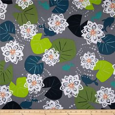 Water Garden Grey from @fabricdotcom  Designed by Jane Dixon for Andover Fabrics, this cotton print is perfect for quilting, apparel and home decor accents. Colors include grey, green, white, orange and yellow.