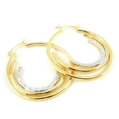 "Hoops plated gold ""Déesse"" 2 tone. Les Tresors de Lily. $59.00. Save 29%!"
