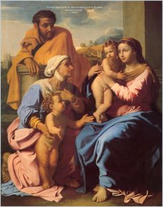 POUSSIN - 31 December – Feast of the Holy Family and the Seventh Day of the Octave  The Holy Family is the name given to the family unit of Jesus:  The Divine Son of God Jesus, His mother the Virgin Mary and His foster-father Joseph.   We know very little about the life of the Holy Family through the canonical Gospels.   They speak of the early years of the Holy Family, including the birth of Jesus in Bethlehem, the flight into Egypt, and the finding of Jesus in the temple. ....