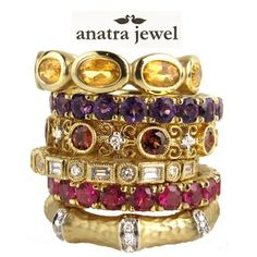 Citrine, Amethyst, Garnet, Ruby, Diamond and Yellow Gold Stack Rings