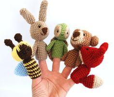 5 animal finger puppets autumn fall crocheted bee by crochAndi