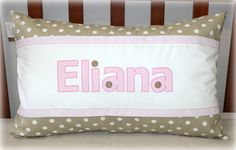 """Personalized Cushion with name """"Eliana"""" in stone/gold and blush pink. Size 35cm x 55cm. Available on order from Tula-tu Baby Linen (South Africa). www.tulatu.co.za Personalised Cushions, Stone Gold, Blush Pink, South Africa, Diaper Bag, Throw Pillows, Baby, Light Rose, Toss Pillows"""