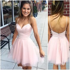 Sexy Short Prom Dress, Cute Pink Prom Dress,Spaghetti