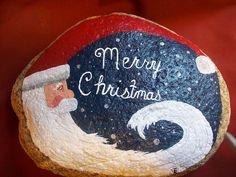 Merry Chirstmas Santa rock