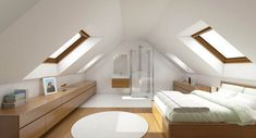 I really love this good looking attic office Attic Bedroom Small, Attic Bedroom Designs, Attic Bedrooms, Attic Spaces, Attic Master Bedroom, Bedroom Loft, Home Room Design, Home Interior Design, House Design