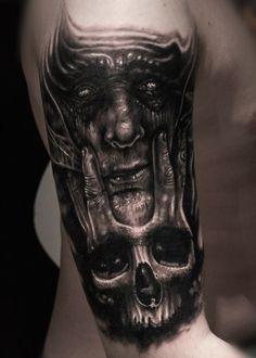 3D Dämon Tattoo Totenkopf