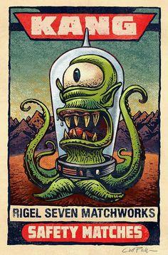 Kang Matchbox Art 5 x 7 matted signed print Retro Kunst, Retro Art, Funky Art, Cartoon Kunst, Cartoon Art, Cartoon Characters, Art Alien, Pop Art, Simpsons Art