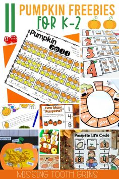 It's fall! Time for pumpkin activities! This blog post has over 10 free pumpkin-themed activities for kindergarten, first, and second grade. There are reading, writing, math, and science resources included! Great to add to your October lesson plans! #pumpkinactivities