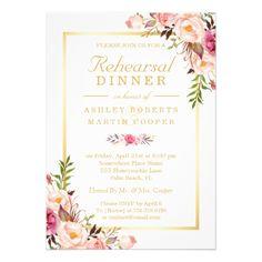 Elegant Wedding Rehearsal Cards Wedding Rehearsal Dinner Elegant Chic Gold Floral Card