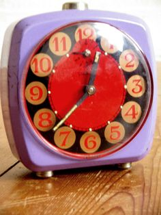 Vintage 70s Colorful Alarm Clock Lavender Lilac Red Gold by Nippes, €16.90