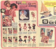 1960s advertisement for Tuppence.Shows many of her outfits including the sought-after bridal one.