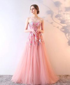 Elegant pink tulle prom dress with lace appliques, 2018 ball dress #prom #dress #promdress #promdresses