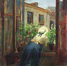 radstudies:   Konstantin Makovsky (Russian, 1839-1915) By the open window - c.1910