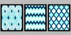"""Set of 3 - 8""""x10"""" Wall Decor Prints, Modern Home Decor, Design Print, Pattern Prints-IKAT, Chevron, & Moroccan"""