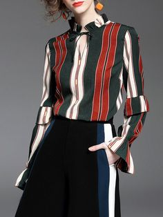Shop Blouses - Stand Collar Casual Long Sleeve Blouse online. Discover unique designers fashion at StyleWe.com.