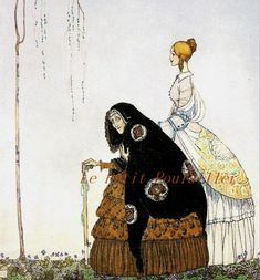 From 'The Czarina's Violet' ~ The Old Woman who knew the story, illustration by  Kay Nielsen.