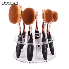 Docolor Oval Brush Set 10pcs professional oval makeup brushes with holder new…