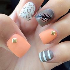 Orange. Taupe feather design nails