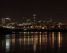 Looking from Kansas City Kansas across the rivers to Kansas City Missouri