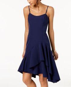 Vince Camuto Spaghetti-Strap Ruffled Dress - Blue 8