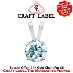 """7/8 Ct Belgium Intense Light Blue Genuine Fire Hot Moissanite 14K Gold 4 Prongs Solitaire Pendant Without Chain """"Mother\'s Day Gift"""". Starting at $119"""