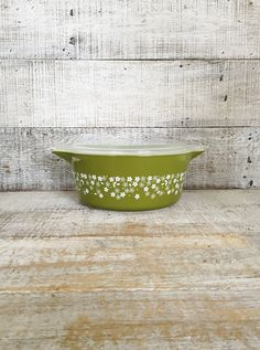 Pyrex Spring Blossom Casserole Dish Pyrex Casserole Crazy Daisy Spring Blossom Retro Avocado Green and white Baking Pan Mid Century Ovenware by TheDustyOldShack on Etsy