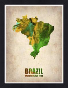 Quadro Mapa do Brasil Aquarela (Naxart) por On The Wall | Crie seu quadro com essa imagem https://www.onthewall.com.br/mapa-do-brasil-aquarela #quadro #moldura #canvas #decoração