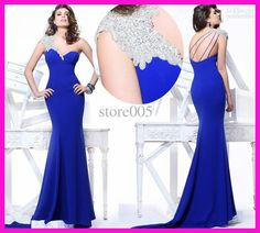 Wholesale 2014 Royal Blue One Shoulder Beads Floor Length Mermaid Prom Evening Dress Chiffon E3414, Free shipping, $115.36-137.76/Piece   DHgate