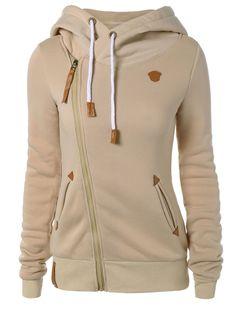Skew Zipper Hoodie in Light Khaki | Sammydress.com