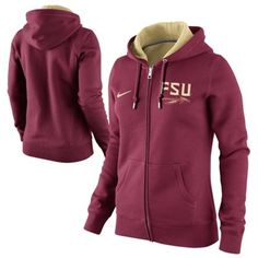 Nike Florida State Seminoles (FSU) Ladies Team-Colored Full Zip Hoodie - Garnet