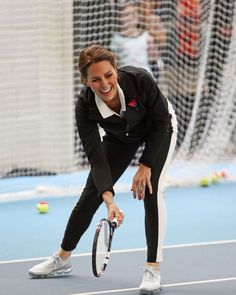 PHOTO: Catherine, Duchess of Cambridge plays tennis at the Lawn Tennis Association in London, Oct. 31, 2017.
