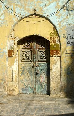 Door, Aleppo, Syria, old wooden door, rustic, ornaments, weathered, decay, aged, architechture, culture, curved, details, ornaments, photograph, photo