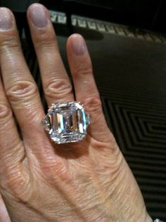 just trying on a Harry Winston 40 carat diamond ring - amazing!