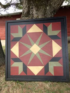 PriMiTiVe Hand-Painted Barn Quilt Framed 2' x 2' by CrowCorner