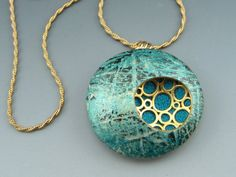 Blue Batik by Stonehouse Studio Contemporary polymer clay pendant necklace in metallic blues on 14K gold filled rope chain