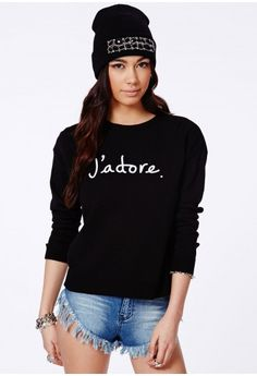 Missguided - Henrieta J'Adore Print Knitted Jumper In Black