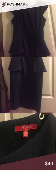 XOXO Navy blue dress Perfect for work! Hits the knees. Miss the original belt but all you need is a thin belt, black or beige would do the trick. Sorry for the horrible pics but I have a crazy toddler pulling at me at the moment. Size 7/8 juniors. Navy blue. XOXO Dresses