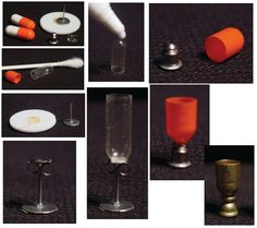 Make tiny glassware and goblets from earring backs and empty pill cases!