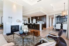 Living room completely furnished by HW Home for the Landmark Signature residences at The Landmark in Greenwood Village, CO