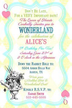 Alice in Wonderland Queen of Hearts Birthday Tea Party Invitation- Digital Printable File. $15.00, via Etsy.