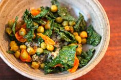 Fresh Chick Pea, Pesto Quinoa, and Kale Bowl by Shiva Rose Quinoa And Kale Recipes, Chickpea Recipes, Veggie Recipes, Vegetarian Recipes, Cooking Recipes, Veggie Food, Dinner Recipes, Quinoa Recipe, Weeknight Recipes