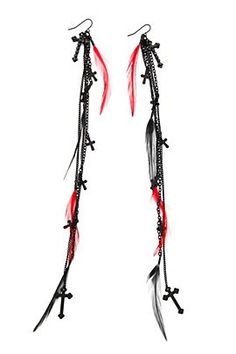 red and black cross feather earrings