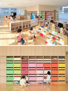 In the main nursery room in this modern kindergarten, 200 colorful boxes in 25 colors are lined up on the wall, allowing each child to know which color belongs to them and where they can keep their personal items.   emmanuelle moureaux architecture + design have recently completed Creche Ropponmatsu, a new kindergarten located in a residential area in Fukuoka city, Japan.