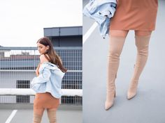 "Outfits inspired by Kylie Jenner/Kim Kardashian   Orange Choker Dress/High Knee Beige Boots - Yeezy Season Inspired/Distressed Denim Jacket  ""DRAFTING EMAILS TO BRANDS AND PRS FOR SMALLER BLOGGERS..""  Outfit by www.laylapanam.com"