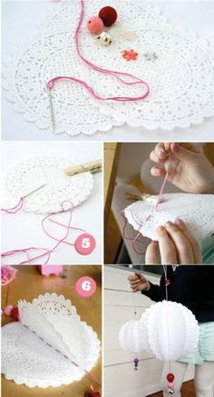 Ornaments, made from paper doilies. Maybe something to do with crochet doilies? Diy And Crafts, Crafts For Kids, Arts And Crafts, Paper Crafts, Doilies Crafts, Paper Doilies, Crochet Doilies, Holiday Crafts, Christmas Crafts